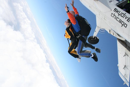 Pearl G. skydiving with Skydive Chicago
