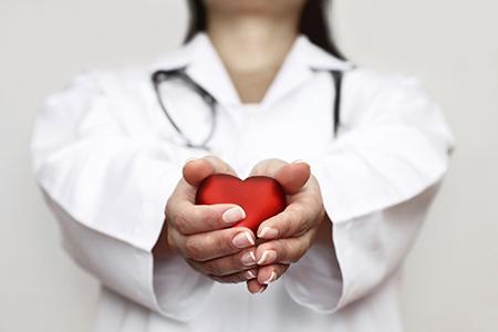 Heart in handsof a nurse