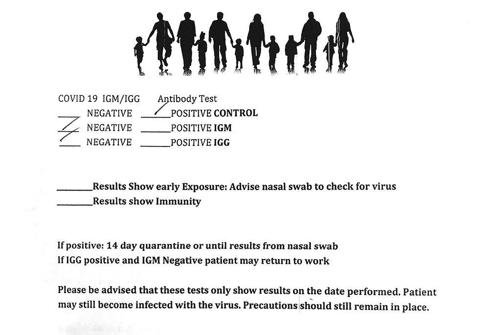 covid 19 rapid antibody test results